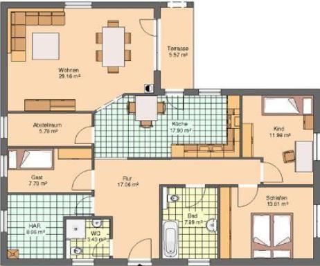 bungalow 140 qm ihr traumhaus ideen. Black Bedroom Furniture Sets. Home Design Ideas